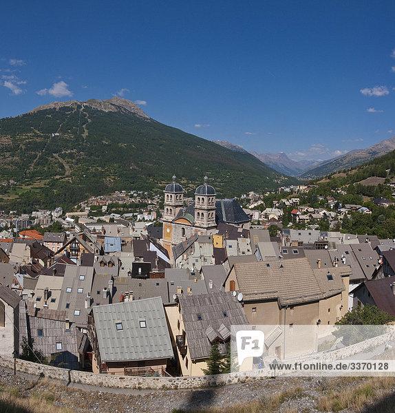 10872623  Cité Vauban  Briançon  Hautes-Alpes  France  City  Village  Summer  Mountains  Hills  Church  France  Horizontal