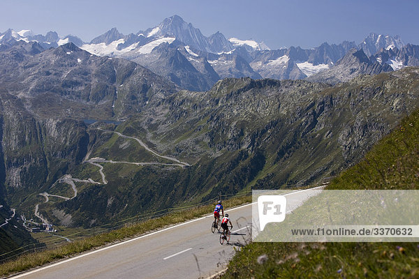 10873985  Switzerland  swiss  ride a bicycle  two  Furka Pass  Grimsel Pass  mountain pass  street  Serpentinen  mountains  Furka area  field  mountains  canton Uri  traffic  canton Valais  curves  persons  scenery  nature  Bernese Alps  alpine  Alps  bicycle driver  cyclist  bicycle  bicycle  bike  wheel  bicycle  bike
