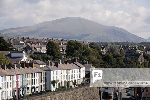 Caernarfon with Snowdonia in the background  Wales