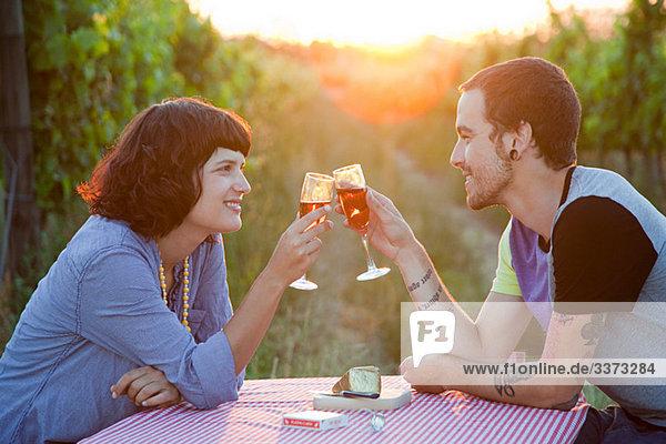 Paar Toast mit Gläsern Wein im Feld