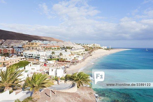 Küstenlinie von Morro Jable  Fuerteventura  Spanien  Erhöhte Ansicht