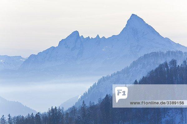 Blick auf den Watzmann  Berchtesgadener Alpen  Berchtesgadener Land  Deutschland  Erhöhte Ansicht Blick auf den Watzmann, Berchtesgadener Alpen, Berchtesgadener Land, Deutschland, Erhöhte Ansicht