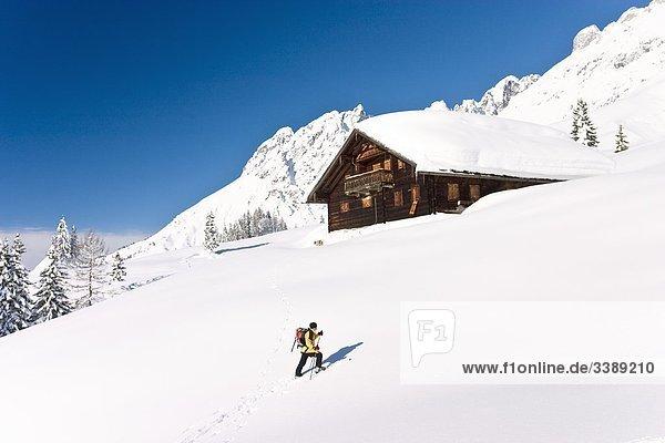 Frau beim Skiwandern auf dem Hochkönig  Mühlbach am Hochkönig  Österreich