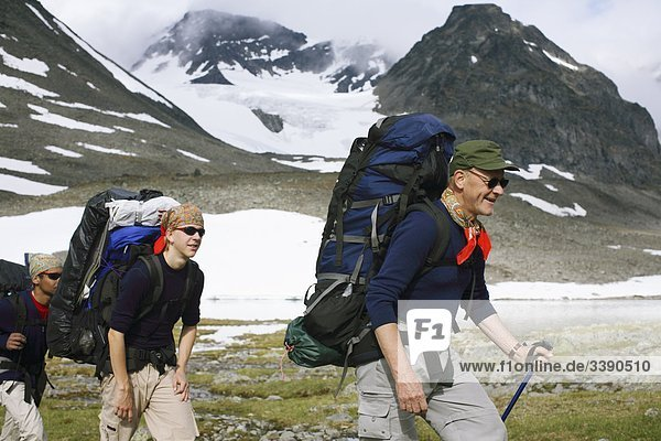 People on a mountain tour  Lapland  Sweden.