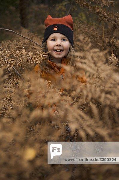 Ein kleines Mädchen in einem herbstlichen Wald  Schweden.