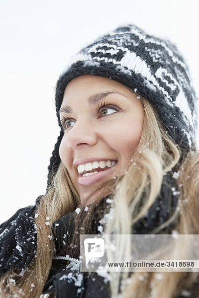 Blonde  snowy woman