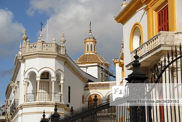 "Partial view of the buildings attached to La Maestranza bullring  the so-called ""Temple of Bullfighting . Eighteenth Century. El Arenal quarter. Seville  Andalucia  Spain  Europe"