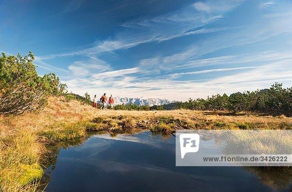 Österreich  Salzburger Land  Wanderer in der Landschaft
