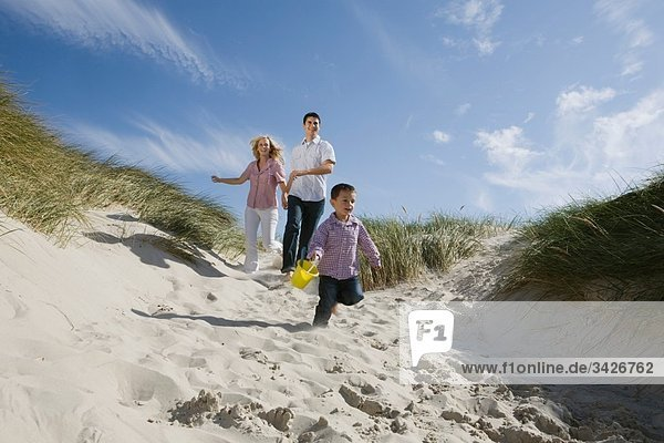 Deutschland  Schleswig Holstein  Amrum  Familie läuft die Stranddüne hinunter