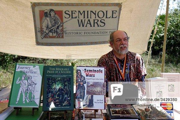 Stall of Seminole Wars foundation at Big Cypress Shootout annual event  Billie Swamp Safari  Seminole Indian Reservation  Big Cypress  Florida  USA