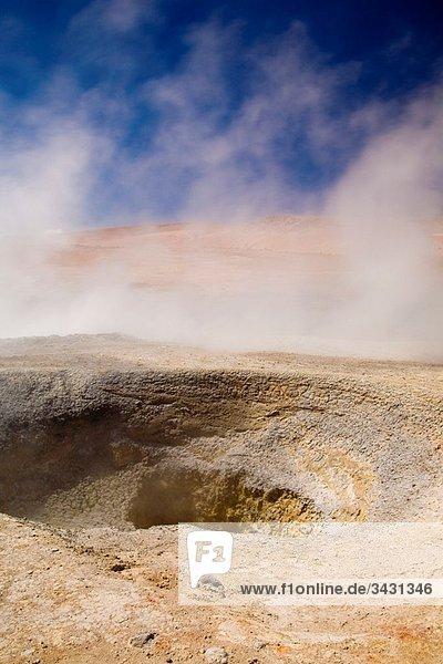 Bolivia  Southern Altiplano  Uyuni Highlands Fumaroles and Geysers at the Sol de Manana in the Uyuni Highlands