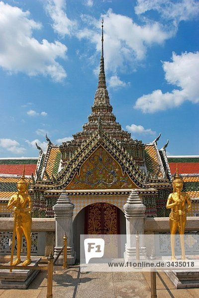 One of richly decorated buildings in Wat Phra Kaeo Bangkok  Thailand