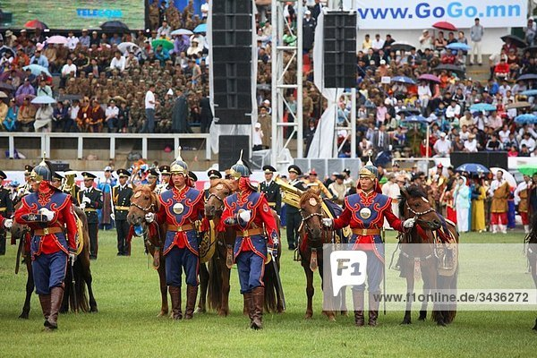 Opening ceremony at Naadam Festival  Ulaanbaatar  Mongolia