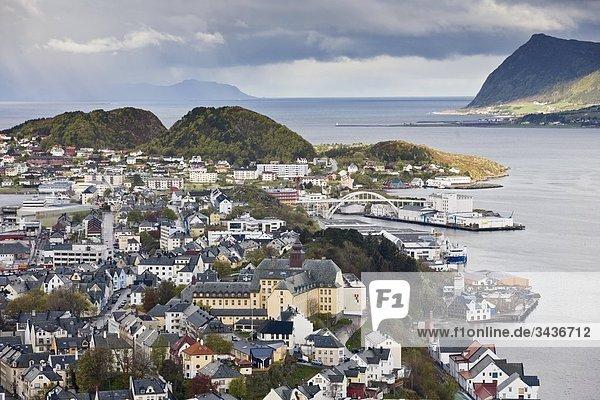 über Küste Norwegen Draufsicht