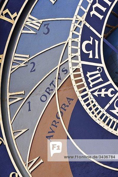 Detail der astronomischen Uhr. Alte Stadtplatz. Prag