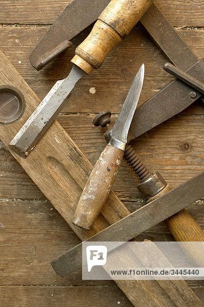 Erhöhte Ansicht Aufsicht Vielfalt Holz Ansicht Zimmermann Werkzeug