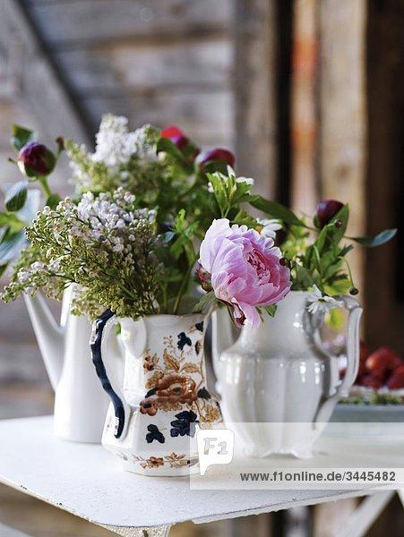 Skandinavien  Schweden  Ekero  Blumen in der Vase  Nahaufnahme