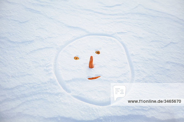 Snowman's face made in the snow