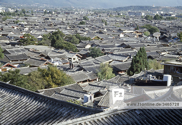 View over rooftops of the old town  Lijiang  Yunnan Province  China