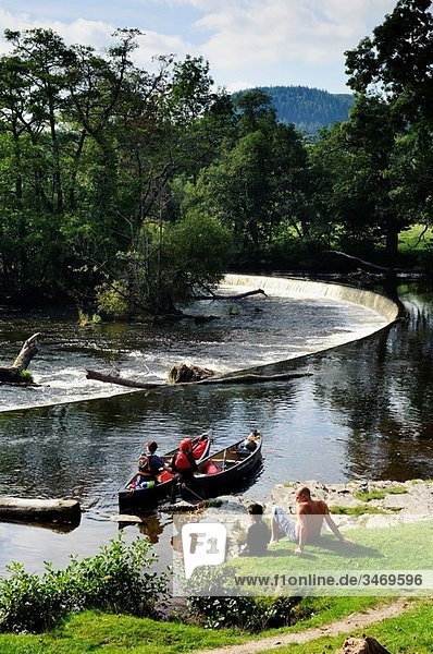 Horseshoe Falls on the River Dee  near Llangollen  the source of water for the Llangollen Canal  built by Thomas Telford A designated World Heritage Site