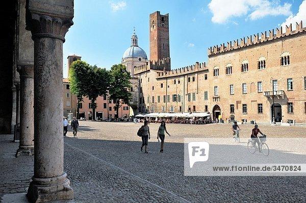 The Piazza Sordello in mediaeval city of Mantua  Lombardy  Italy Toward the Torre della Gabbia and the Basilica di Sant´Andrea