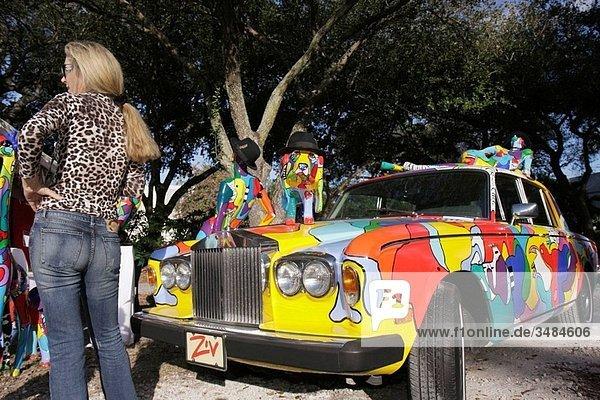 Florida  Miami  Coral Gables  University of Miami  Beaux Arts Festival of Art  juried show  community event  artwork  Marcie Ziv  artist  sculptor  vibrant colors  car  painted  Rolls Royce  whimsical  woman  leopard skin print blouse