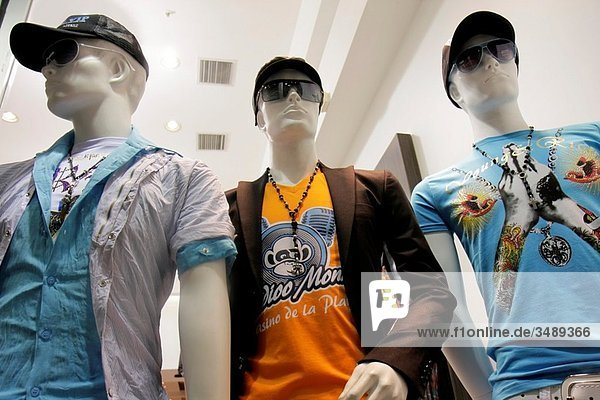 Florida  Miami Beach  Lincoln Road  pedestrian mall  shopping  store  business  fashion  apparel  men´s clothes  window  young adult  mannequin  fad  hip