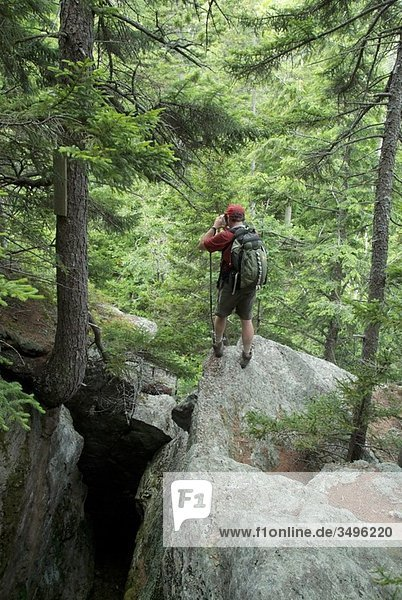 A hiker explores the Bear Pit on the side of Howker Ridge Trail on his way to Mount Madison during the summer months in the scenic landscape of the Northern Presidential Range Located in the White Mountains  New Hampshire USA