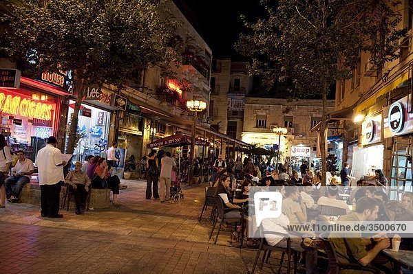 Israel  Jerusalem  Ben Yehuda Street Nachtleben