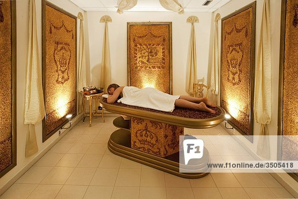 Italy  Liguria  Pigna Thermal baths woman lying on massage table