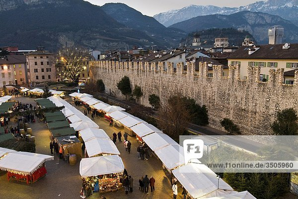 Italy  Trentino Alto Adige  Trento  the Christmas market at dusk