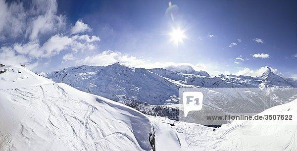 Berglandschaft in Zermatt  Schweiz  Erhöhte Ansicht Berglandschaft in Zermatt, Schweiz, Erhöhte Ansicht