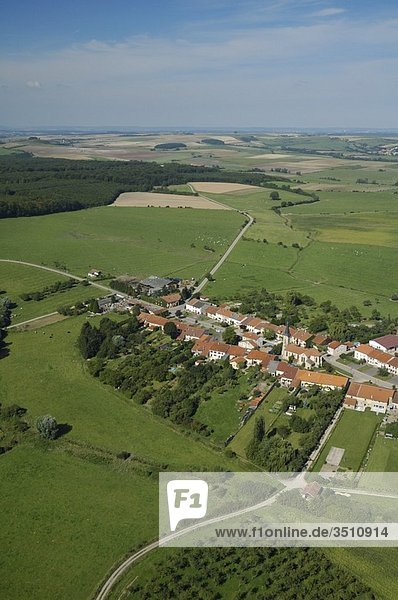 Aerial view of a french countryside village. Hemilly  Moselle  Lorraine  Franc