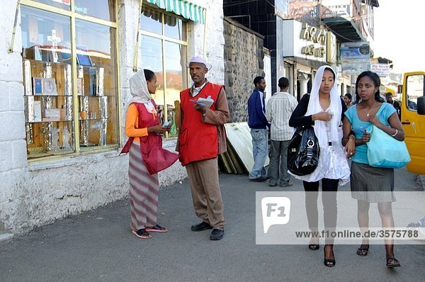Haile Selasse Street scene  Piazza  addis ababa ethiopia