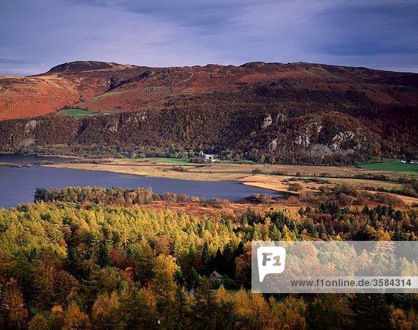 Wasser  Großbritannien  über  Tal  See  Ansicht  Borrowdale  Cumbria  Derwent  Ortsteil  England  Keswick