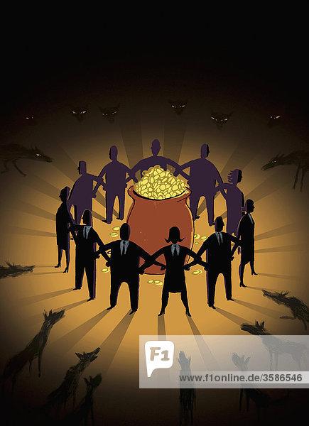 Wölfe umkreisen Geschäftsleute vor Kessel mit Gold