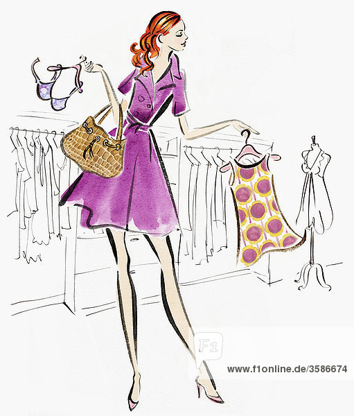 Frau in einer Modeboutique