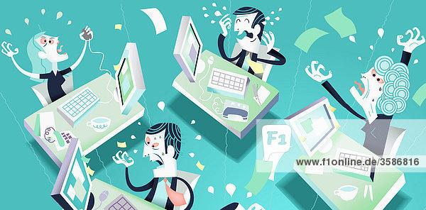 Frustrierte Geschäftsleute arbeiten an Computern