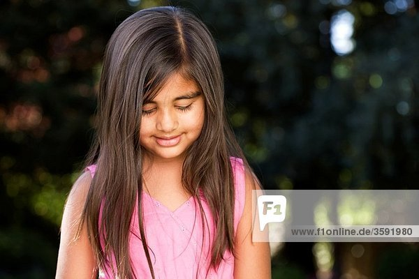 A thoughtful little Indian girl