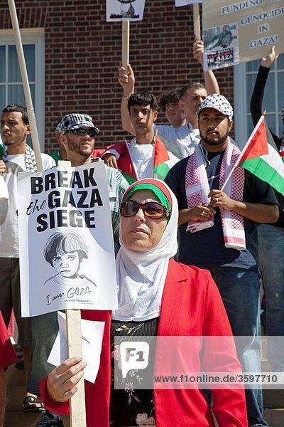 Dearborn  Michigan - Arab-Americans  joined by some Jews  rallied at city hall to protest the Israel´s attack on the ship convoy carrying relief supplies to Gaza The attack left 9 dead on the ships  which were trying to break Israel´s blockade of Gaza