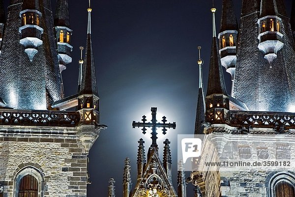 View of the towers of the Tyn Church at night in Prague Czech Republic  Europe