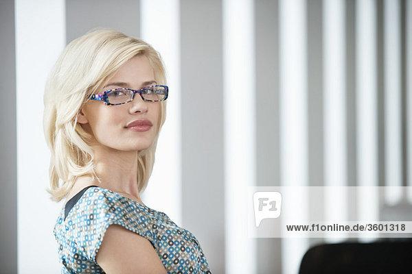 Portrait of a woman wearing eyeglasses