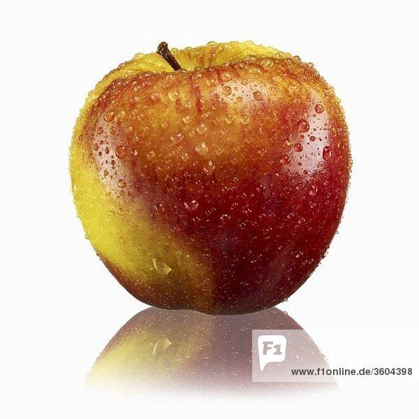 Rot-gelber Apfel mit Wassertropfen und Reflexion
