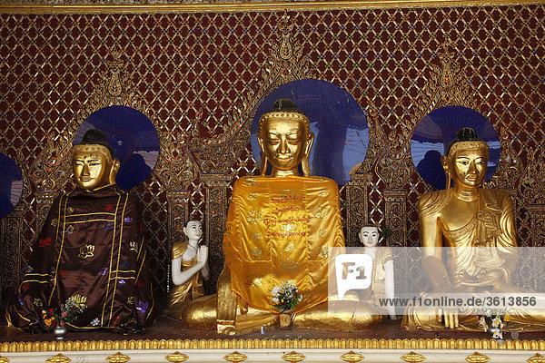 Myanmar  Myanmar  Burma  Rangun  Yangon  Buddha-Statuen in der Mars-Schrein der Shwedagon Pagode