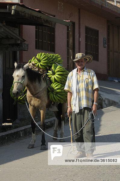 Man bringt Bananen zu Pferde auf den Markt  San Agustin  Abteilung Huila  Kolumbien  Südamerika