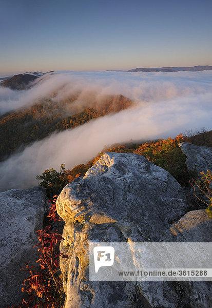 Sunrise bei Pinnacle Overlook  Nebel  Cumberland Gap National Historic Park  Cumberland Gap  Virginia  Tennessee  USA