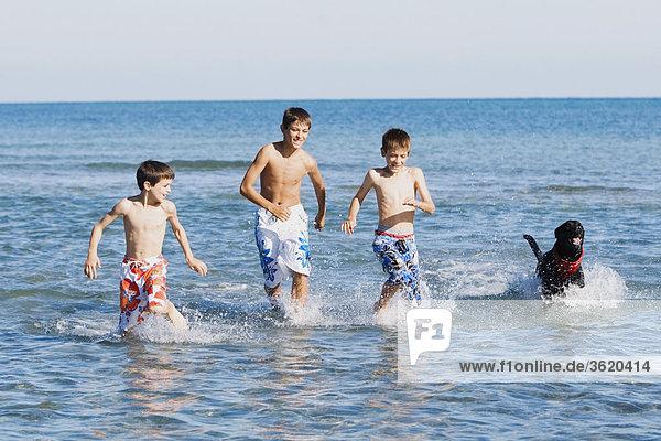 Teenager mit seinen beiden Brüdern und einen Hund im Wasser
