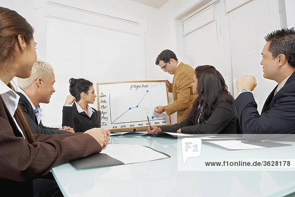 Businessman giving a presentation to business executives