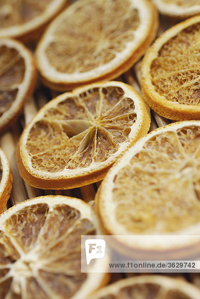 Close-up of dried slices of lemon