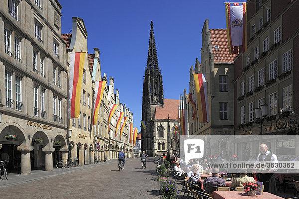 Prinzipalmarkt with Church St. Lamberti  Muenster  Germany